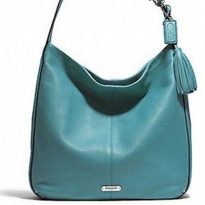 Coach Avery Leather Hobo Handbag with Tassel Blue